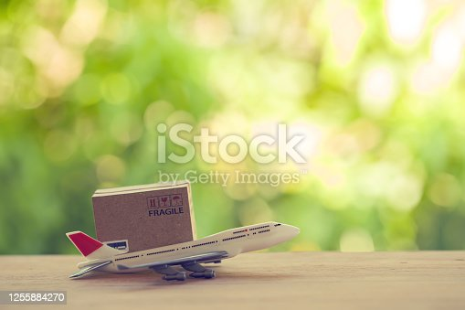 Cardboard boxes with a plane. Depicts transportation, international freight, global shipping, overseas trade, regional, or local forwarding.