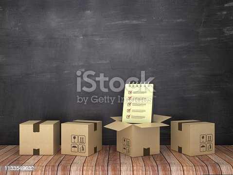 537516368 istock photo Cardboard Boxes with Check List Note Pad on Wood Floor - Chalkboard Background - 3D Rendering 1133549632