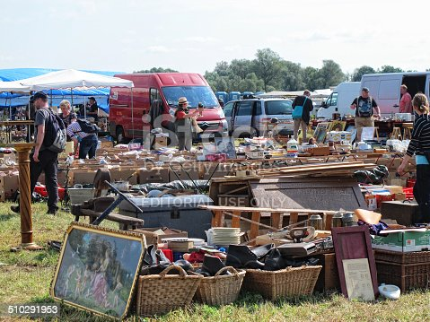 istock Cardboard boxes with items for sale at Flea Market 510291953