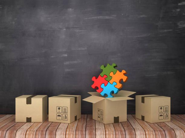cajas de cartón con rompecabezas en la habitación-fondo de pizarra-renderizado 3d - suministros escolares fotografías e imágenes de stock