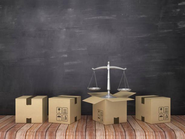 cajas de cartón con escalas de justicia en la habitación-fondo de pizarra-renderizado 3d - suministros escolares fotografías e imágenes de stock