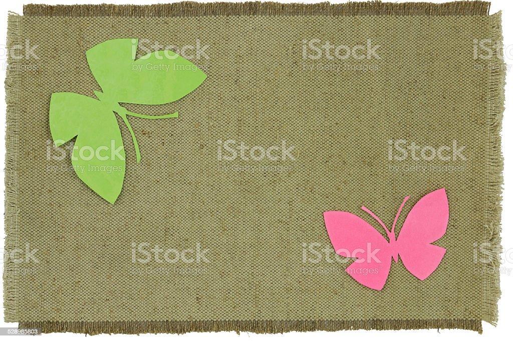 Pappe Schmetterling auf Grün grob Tuch – Foto