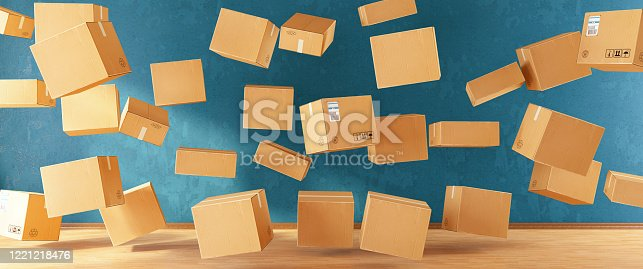 Cardboard Cargo Boxes Flying. 3d Render