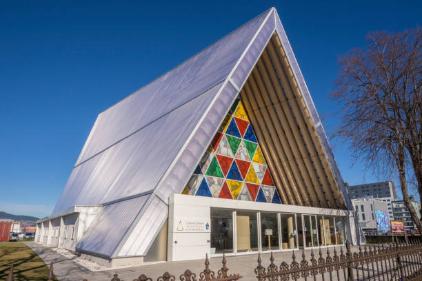 'Cardboard Cathedral', Christchurch stock photo