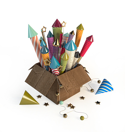 Cardboard Container With Multicolored Rocket Fireworks. 3d rendering on a white background. Celebration concept.