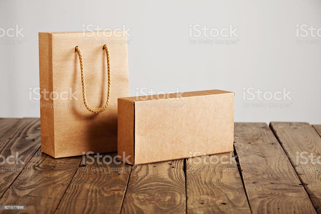 Cardboard craft package box and bag set photo libre de droits