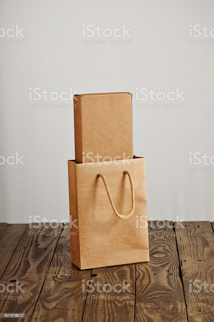 Cardboard craft package box and bag set photo libre de droits