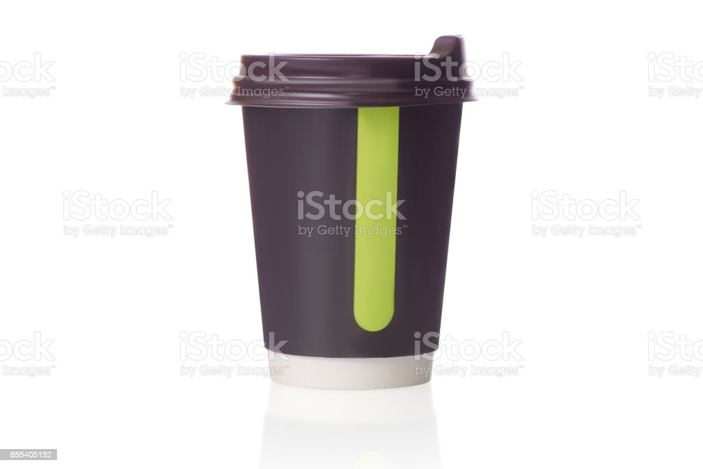 Cardboard cup of coffee isolated stock photo