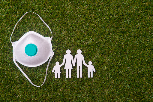Cardboard figures of the family  and mask on green grass background. Coronavirus or Covid-19 virus concept
