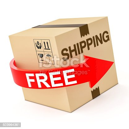 istock Cardboard Free Shipping 3d isolated on white 523964361