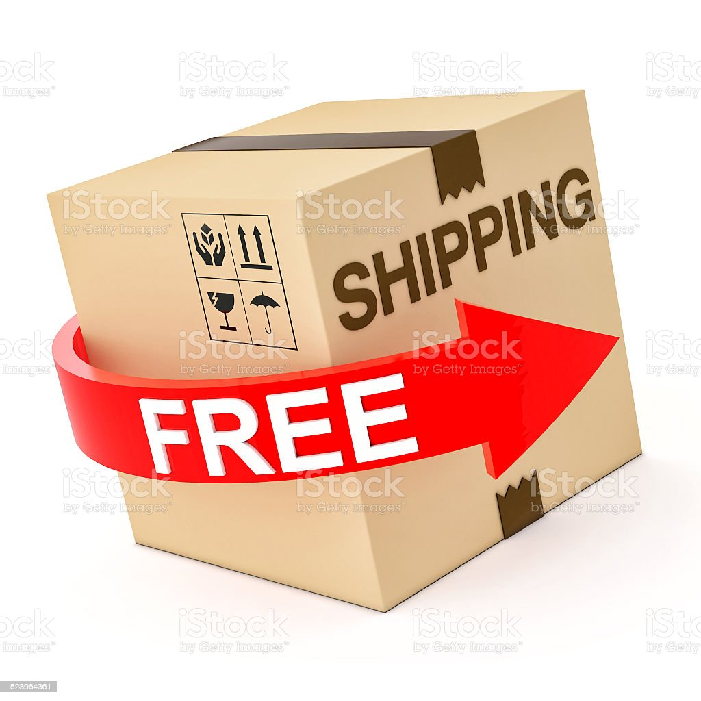 Cardboard Free Shipping 3d isolated on white stock photo