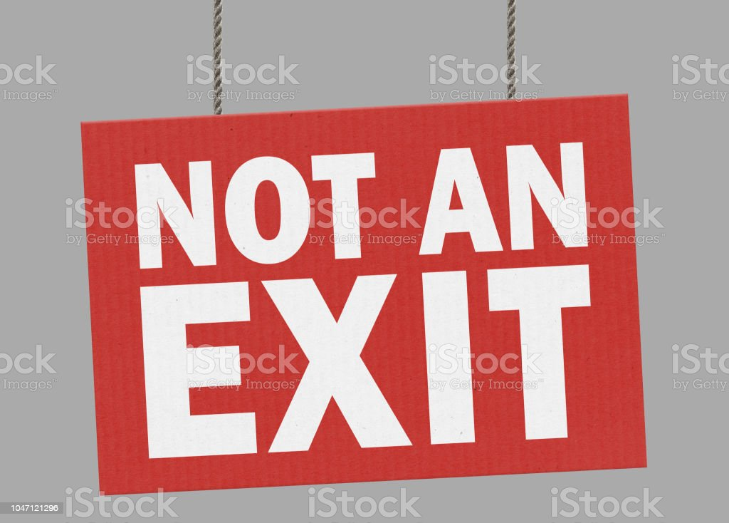 Cardboard not an exit sign hanging from ropes. Clipping path included so you can put your own background. stock photo