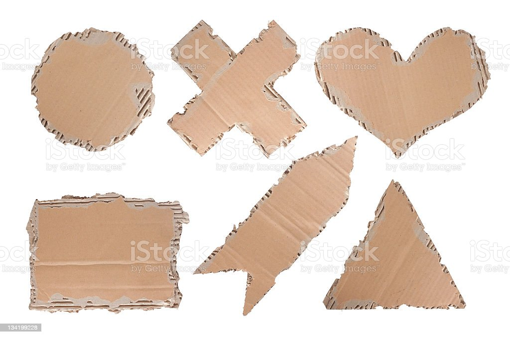 cardboard of heart, circle, triangle, cross and arrow shape royalty-free stock photo