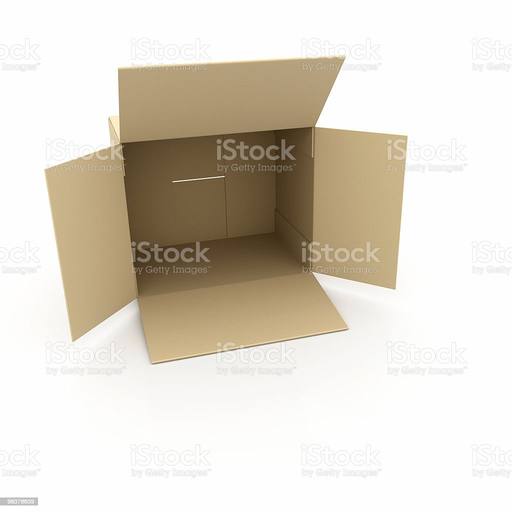 cardboard open empty box royalty-free stock photo