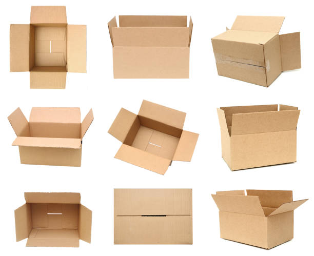 cardboard packages isolated white - puste pudełko zdjęcia i obrazy z banku zdjęć