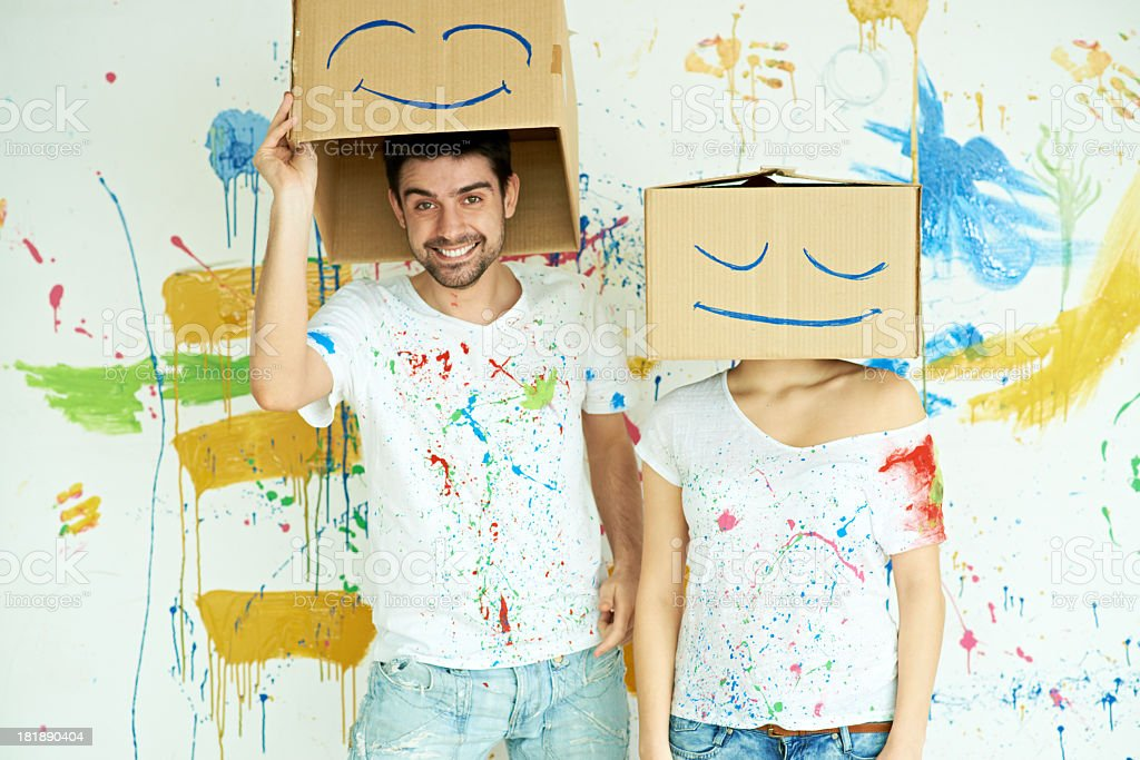Cardboard painters royalty-free stock photo