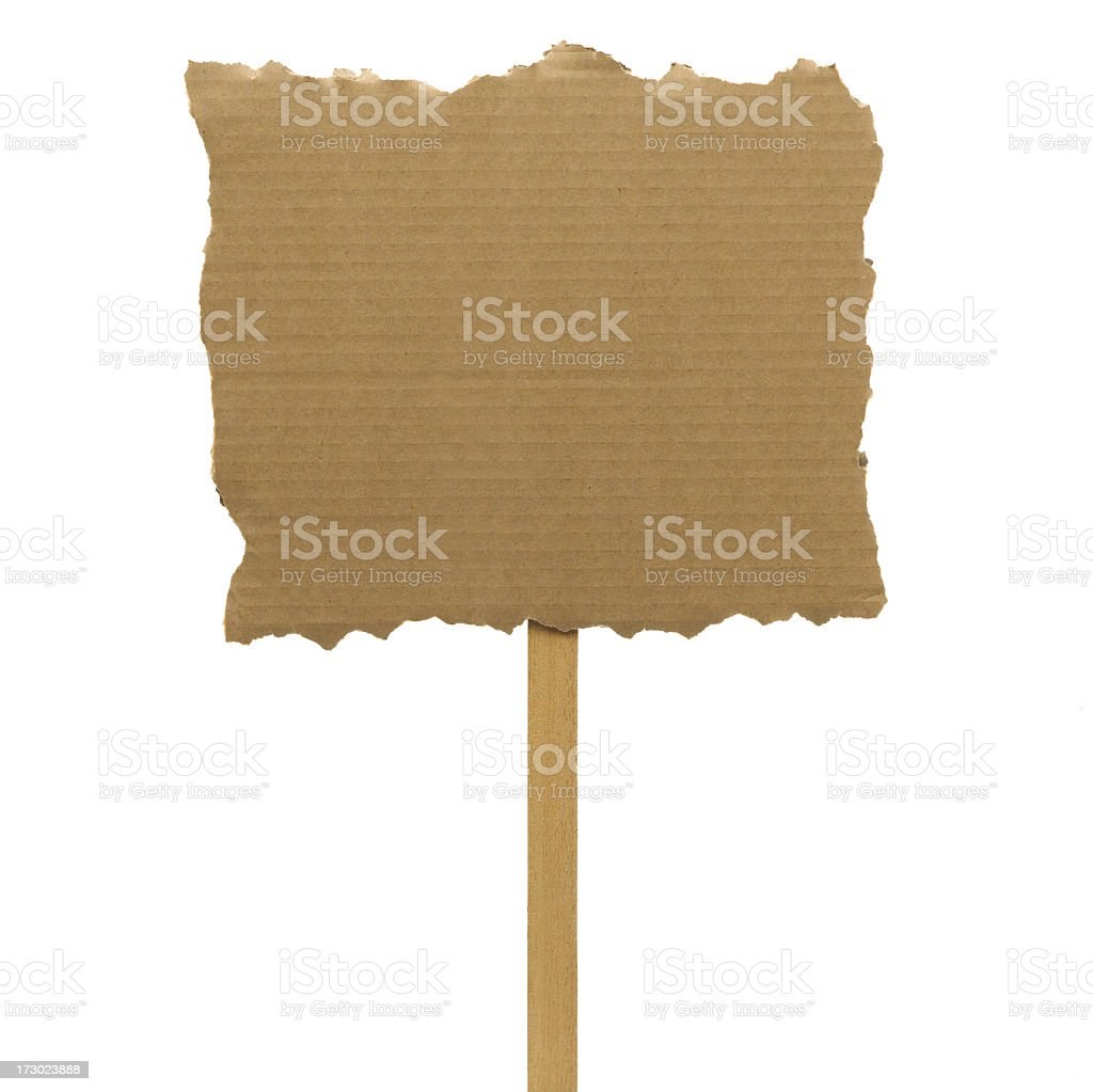 Cardboard placard on a stick on a white background royalty-free stock photo