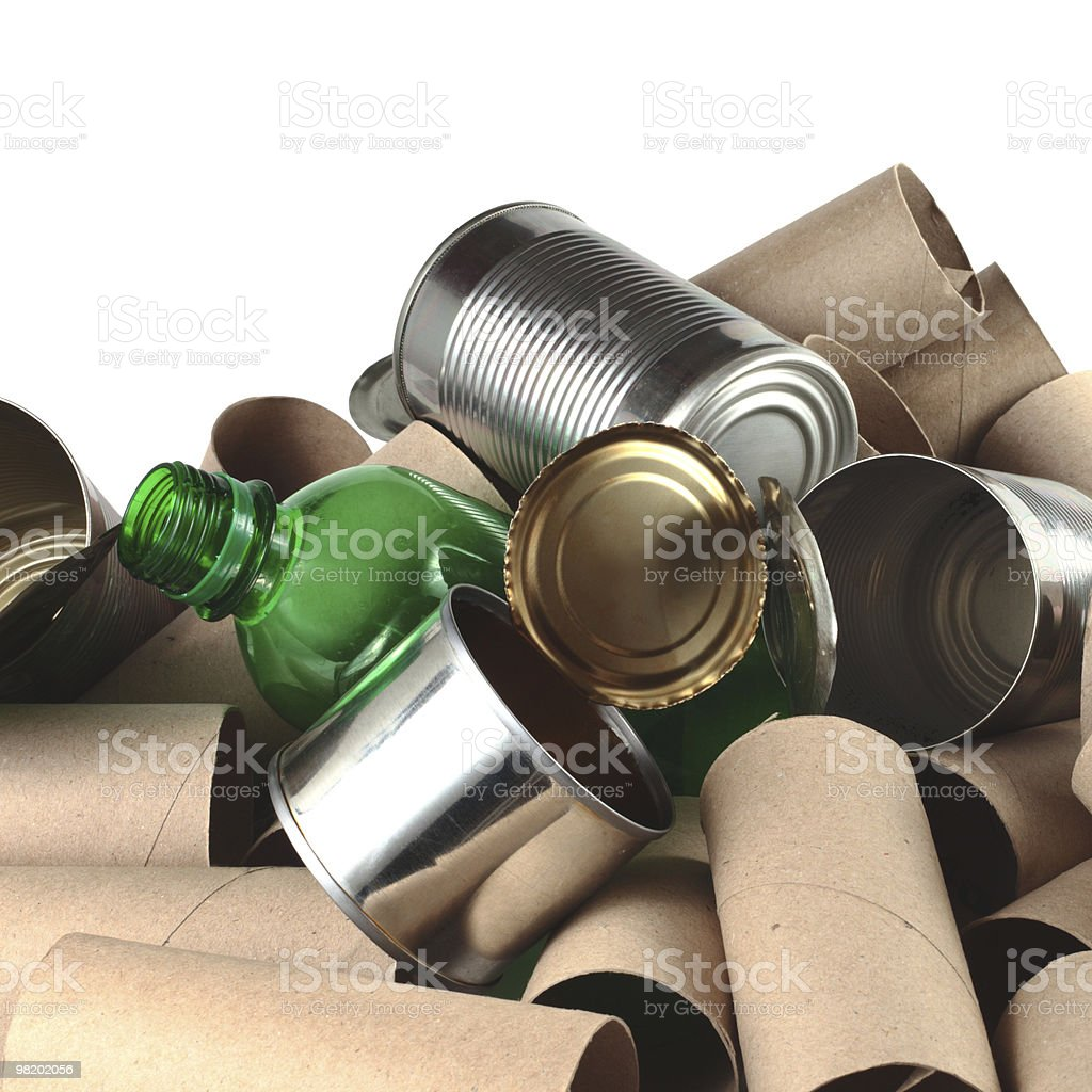 Cardboard plastic and tin items used in a pile royalty-free stock photo