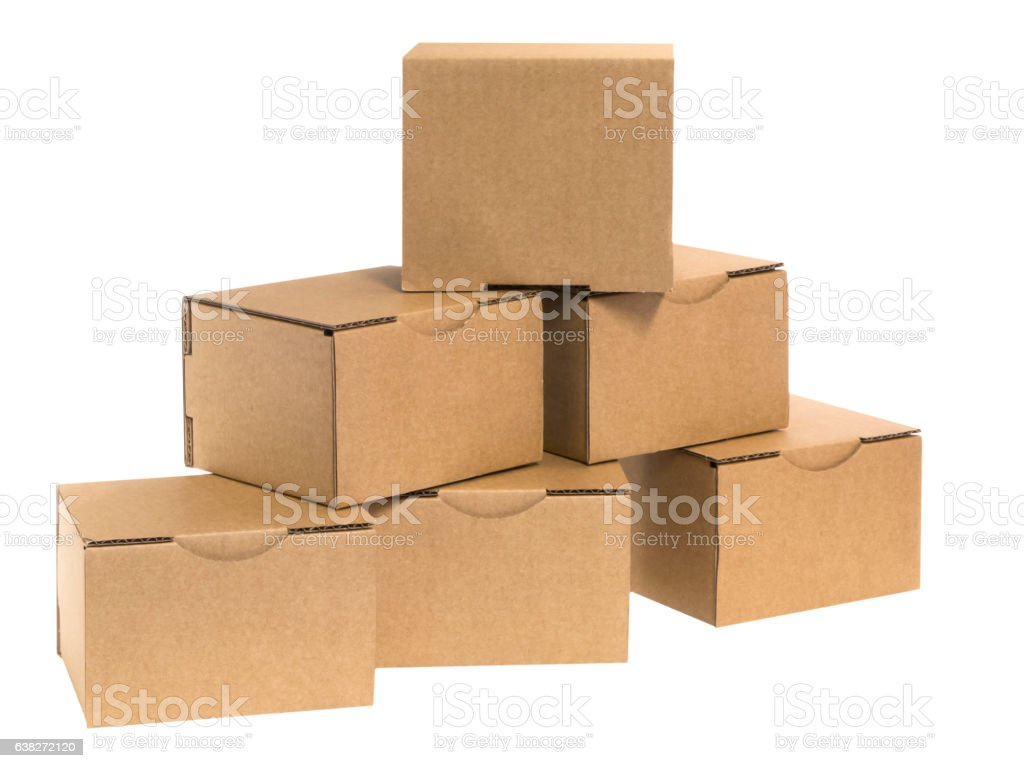 Cardboard pyramid with gaps stock photo