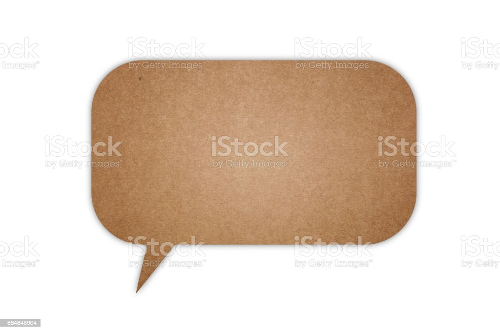 Cardboard speech bubble stock photo