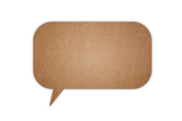 Cardboard speech bubble stock photo