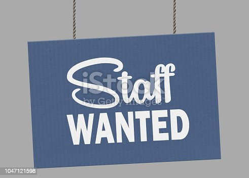 istock Cardboard staff wanted sign hanging from ropes. Clipping path included so you can put your own background. 1047121598
