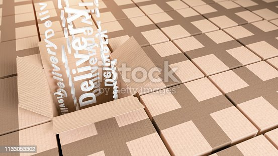 istock Cardboard storage boxes with delivery text concept 3D illustration 1133053302