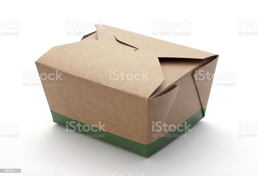 Cardboard Take Out Box isolated stock photo