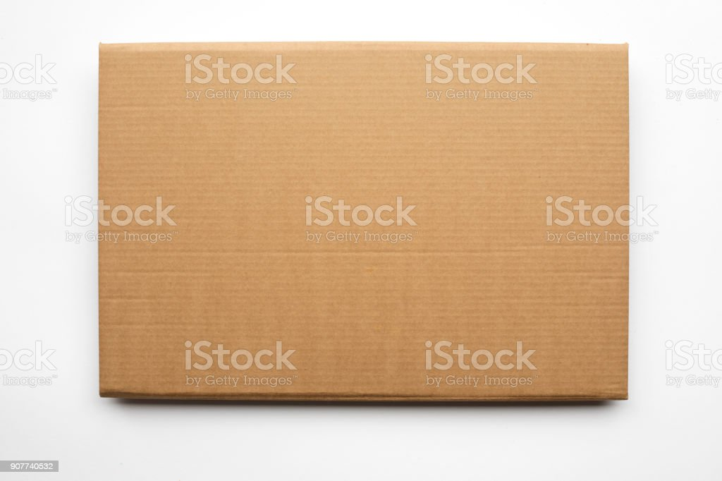 Cardboard texture or background on white background stock photo