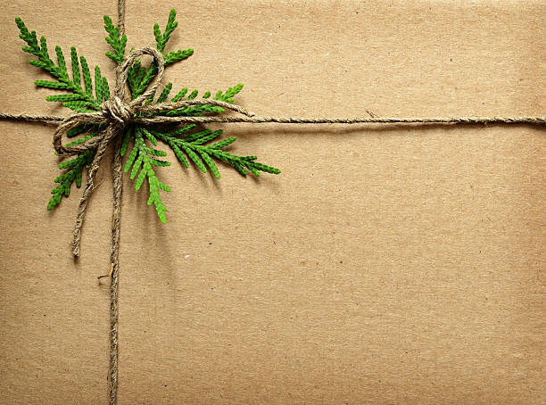 cardboard tied with green twigs and rope. - christmas green stock photos and pictures