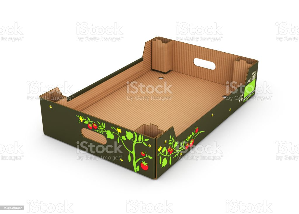cardboard tray box for vegetables and fruit isolated on white stock photo
