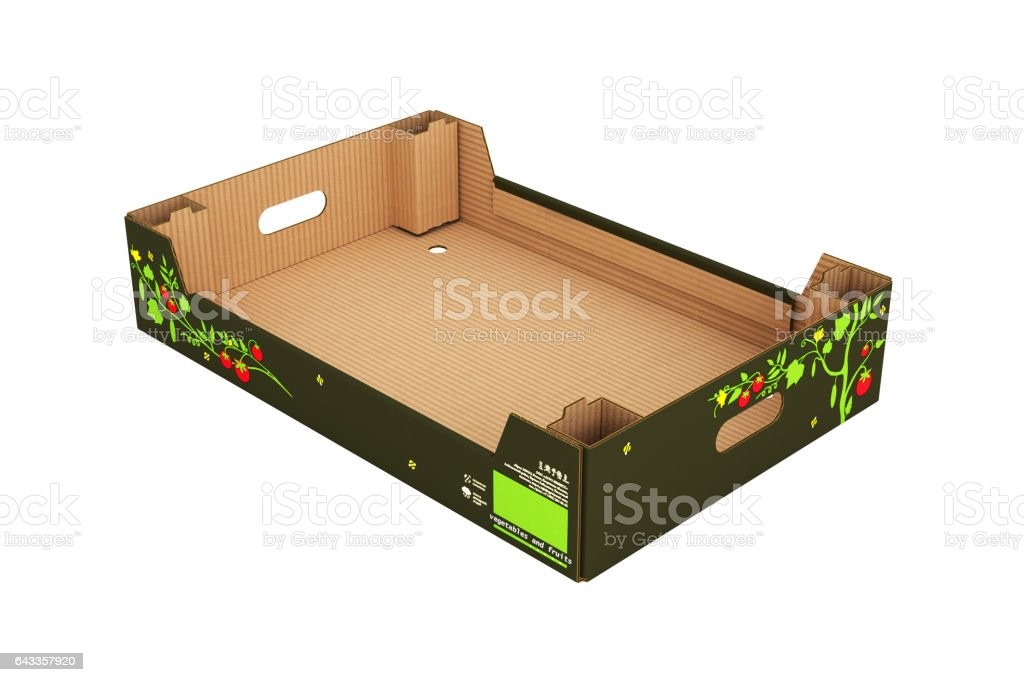 cardboard tray box for vegetables and fruit without shadow stock photo