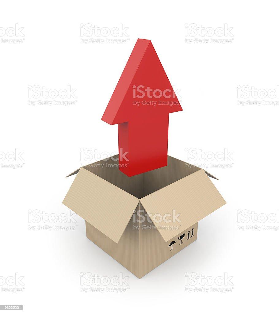 Cardboard with arrow royalty-free stock photo
