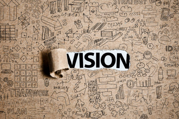 VISION / Cardboard with charts and text concept (Click for more) stock photo