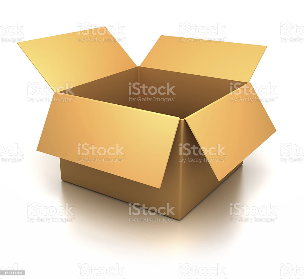 Cardboard yellow box royalty-free stock photo