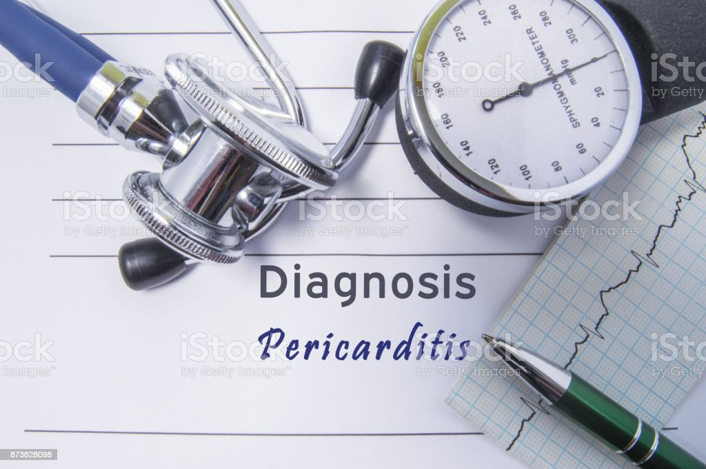 Cardiac diagnosis Pericarditis. Medical form report with written diagnosis of Pericarditis lying on the table in doctor cabinet, surrounded by stethoscope, manometer and ecg. Concept for cardiology stock photo