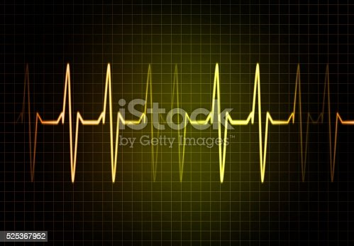 istock Cardiac Frequency in yellow Color 525367952