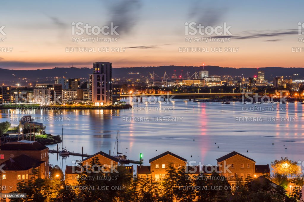 Cardiff Bay In Blue Hour Stock Photo - Download Image Now