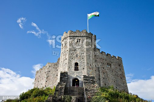 Cardiff, UK - September 18, 2011: The Norman Keep against a blue sky. Photographed at Cardiff Castle.