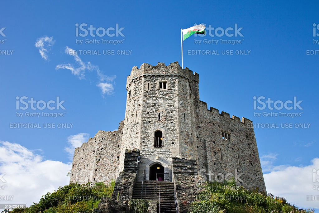 Cardiff Castle Norman Keep stock photo