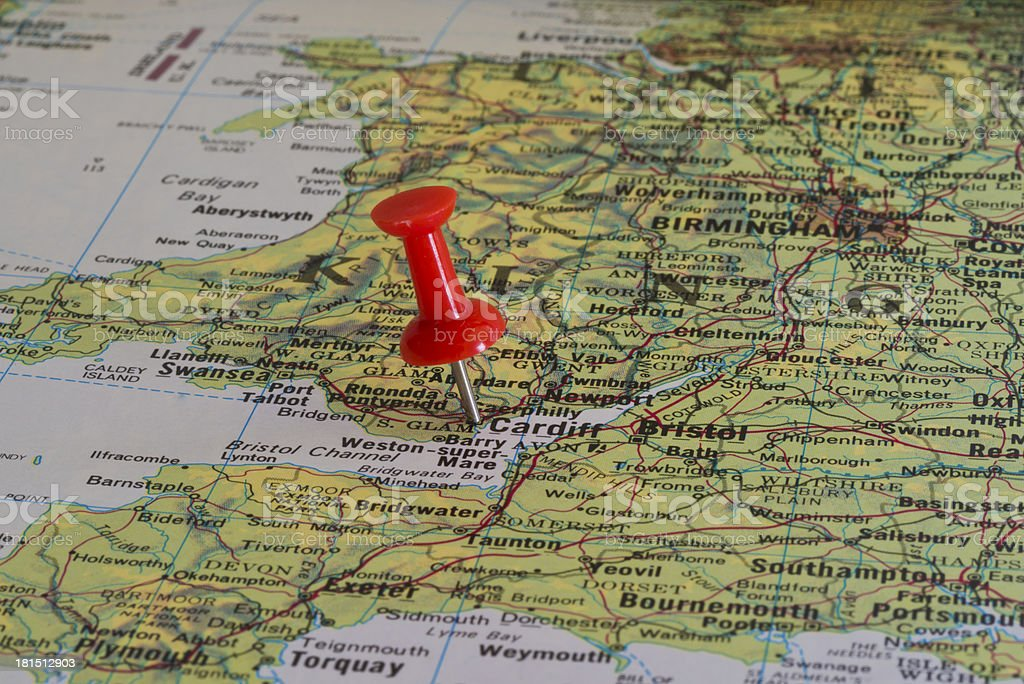 Cardiff Marked with Red Pushpin on Map stock photo