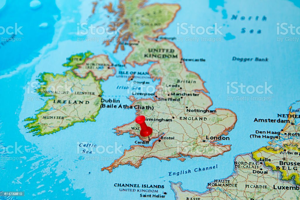Cardiff Uk Pinned On A Map Of Europe Stock Photo More Pictures of