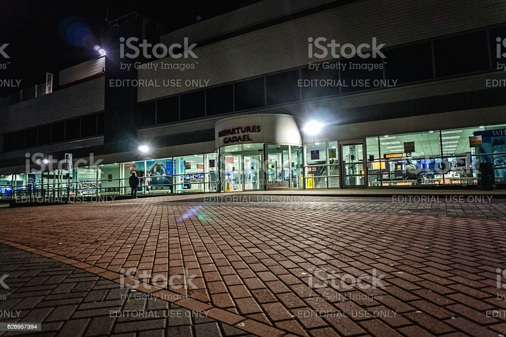 Cardiff Wales Airport Departures entrance stock photo
