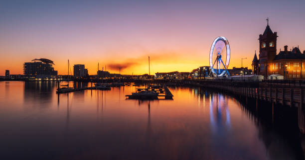 Cardiff, Wales, United Kingdom at Night stock photo