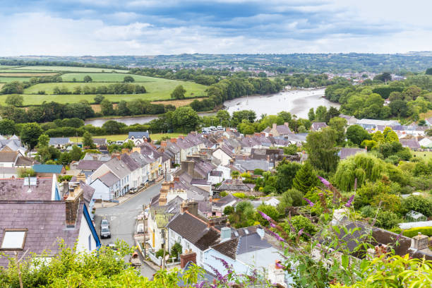 Cardigan in Pembrokeshire, Wales, UK View on the town Cardigan and the river Teifi on he coast of  Pembrokeshire, in Wales, UK wales stock pictures, royalty-free photos & images
