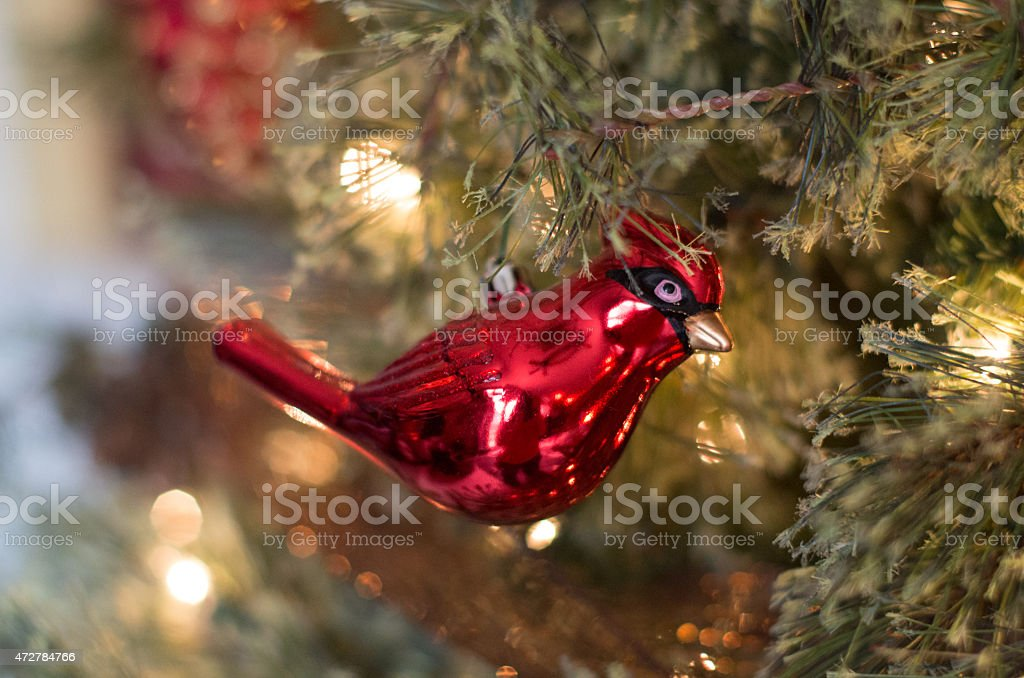 Cardinal Decoration On Christmas Tree With White Lights Stock Photo Download Image Now Istock
