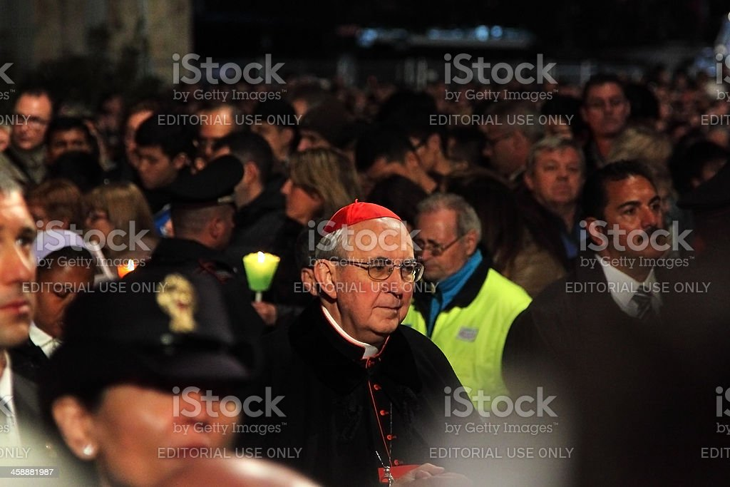 Cardinal during Stations of the Cross chaired by Pope Francis stock photo