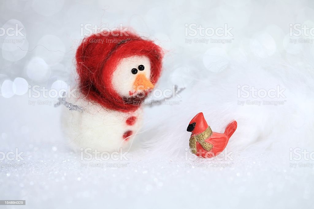 Cardinal in Snow Hello royalty-free stock photo