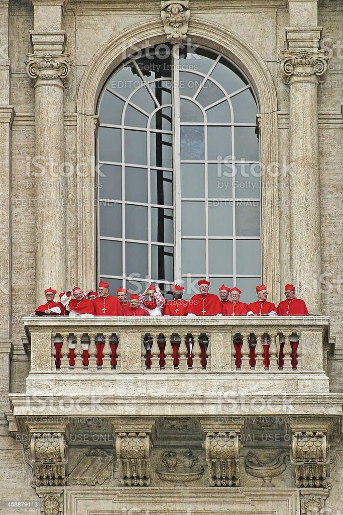 Cardinals on balcony of Saint Peter's Basilica. royalty-free stock photo