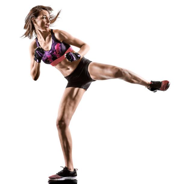 Cardio Boxen Cross Core Workout Fitness Übung Aerobic Frau – Foto